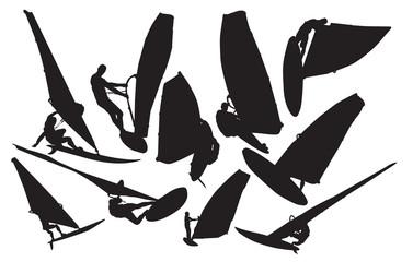 Vector windsurfing silhouette
