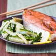 Red fish grilled salmon with cucumber salad and soy sauce, Japan