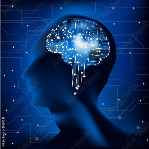 human head with brain and circuit board