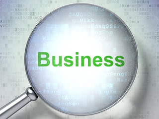 Business concept: Business with optical glass