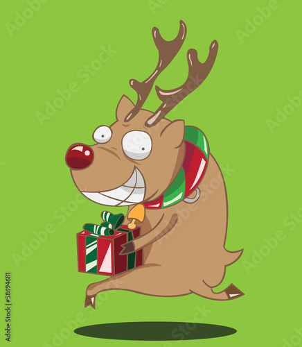 reindeer christmas gift box with green ribbon