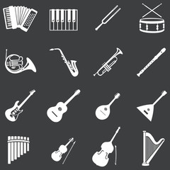 vector set of 16 white musical instruments icons