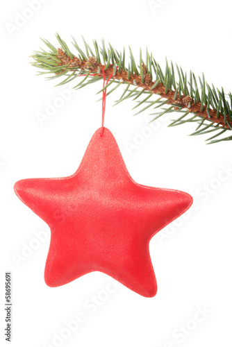 red star hanging on a tree.
