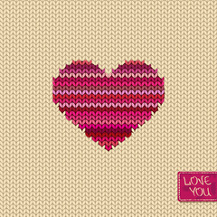 Knitted seamless pattern or card with heart