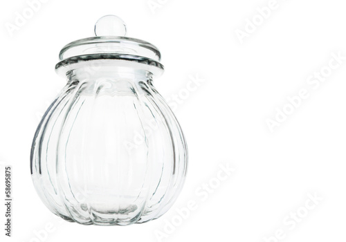 Empty cookie jar over white background