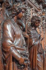 Antwerp - Statue of angel as symbol of chastity - Paulskerk