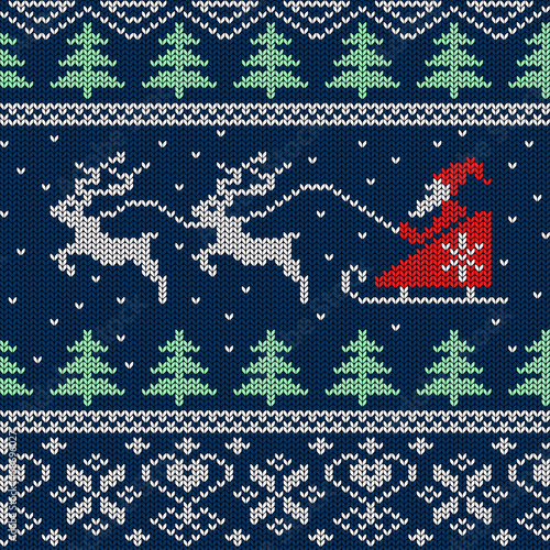 Cotton fabric Christmas and New Year knitted seamless pattern or card