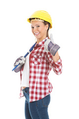 Young casual woman with plubmer wrench and safety helmet showing