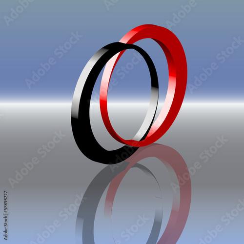 Konjunktion schwarz rot