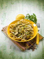 pasta with artichoke lemon peel and cilantro