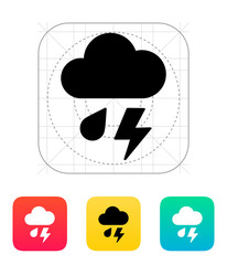 Rain with lightning weather icon.