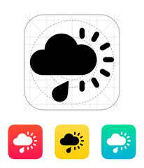 Cloudy with rain weather icon.
