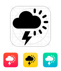 Lightning with sun weather icon.