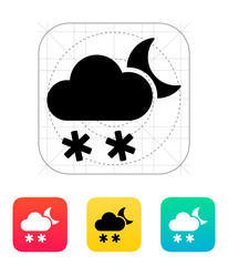 Night snowfall weather icon.