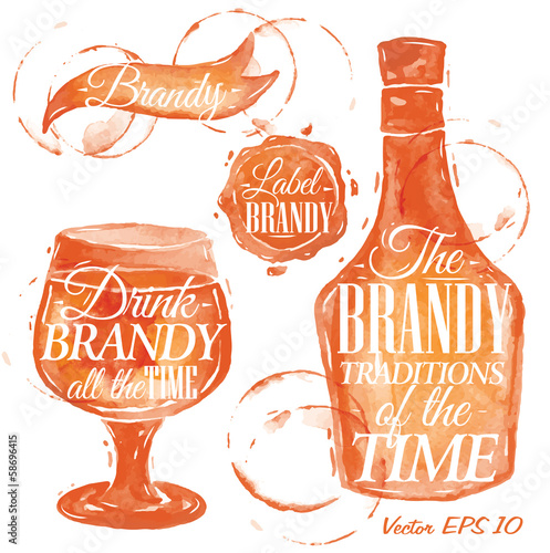 Pointer drawn pour brandy with the inscription brandy