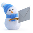 Blue snowman sends a Christmas card
