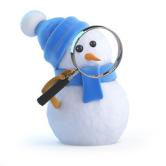 Blue snowman looks through magnifying glass