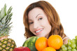 Happy casual woman with fruits.