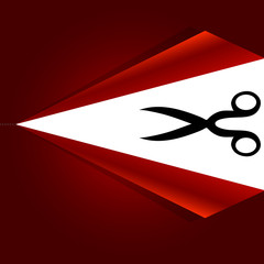 Vector scissors with cut lines on the red background
