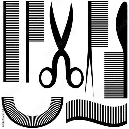 Hairdressing related objects silhouette set. Vector