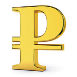 Russian rouble golden symbol