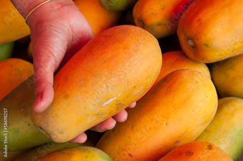 Papaya in the market