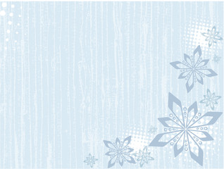 Blotched winter background with snowflakes designed in blue tone