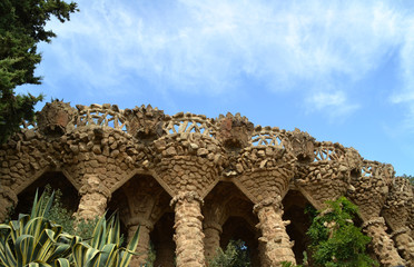 Columns in Park Guell, Barcelona, Spain