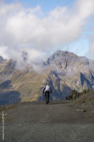 Deurstickers Mountainbiker