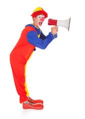Clown Shouting Through Megaphone