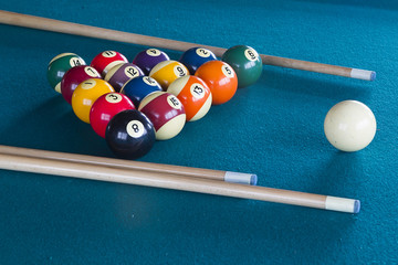 Billiard balls on table.
