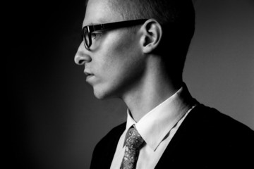 thinking young man profile bw portrait