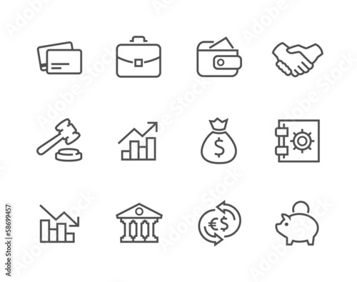 Stroked Financial icons set.