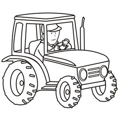 tractor - coloring book
