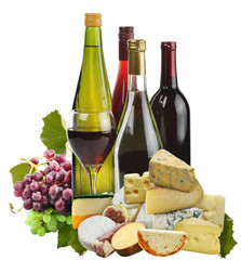 Wine ,Grape And Cheese