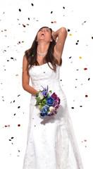 Feliz novia celebrando,bailando.boda,matrimonio.