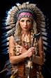 Beautiful woman in native american costume