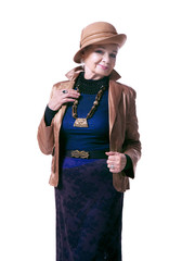 senior blond woman in a hat with jacket
