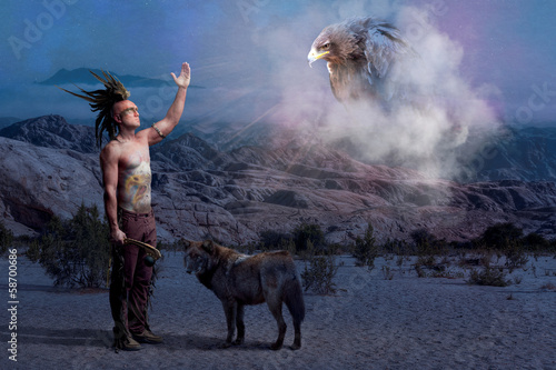 American Indian legend with wolf and eagle Poster