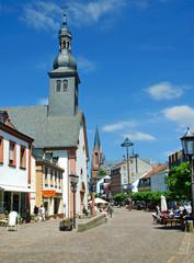 St. Ingbert Saarland - Fußgängerzone mit Engelbertskirche