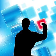 Ein Mann bedient eine Touchscreen Interface