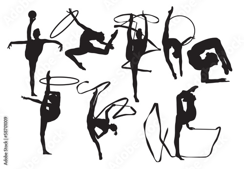 Silhouettes of gymnasts vector