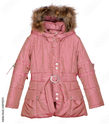 pink female winter jacket isolated on white background