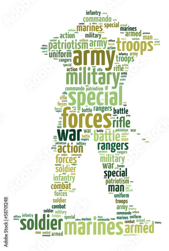 Words illustration concept of a soldier over white background