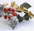 roten Beeren der Stechpalme mit Schnee