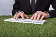 Businessman Typing On Keyboard Over Grass