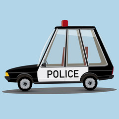 funny cartoon style police car