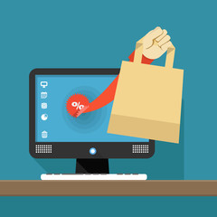 Internet shopping illustration. Hand with shopping bag