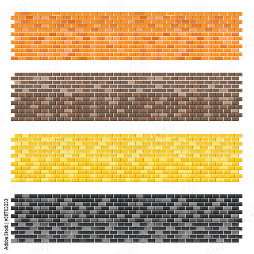 Color brick wall textures collection