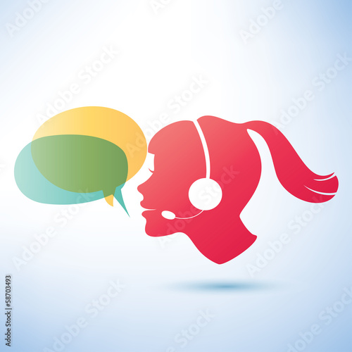 smiling woman with headphones and speech bubbles